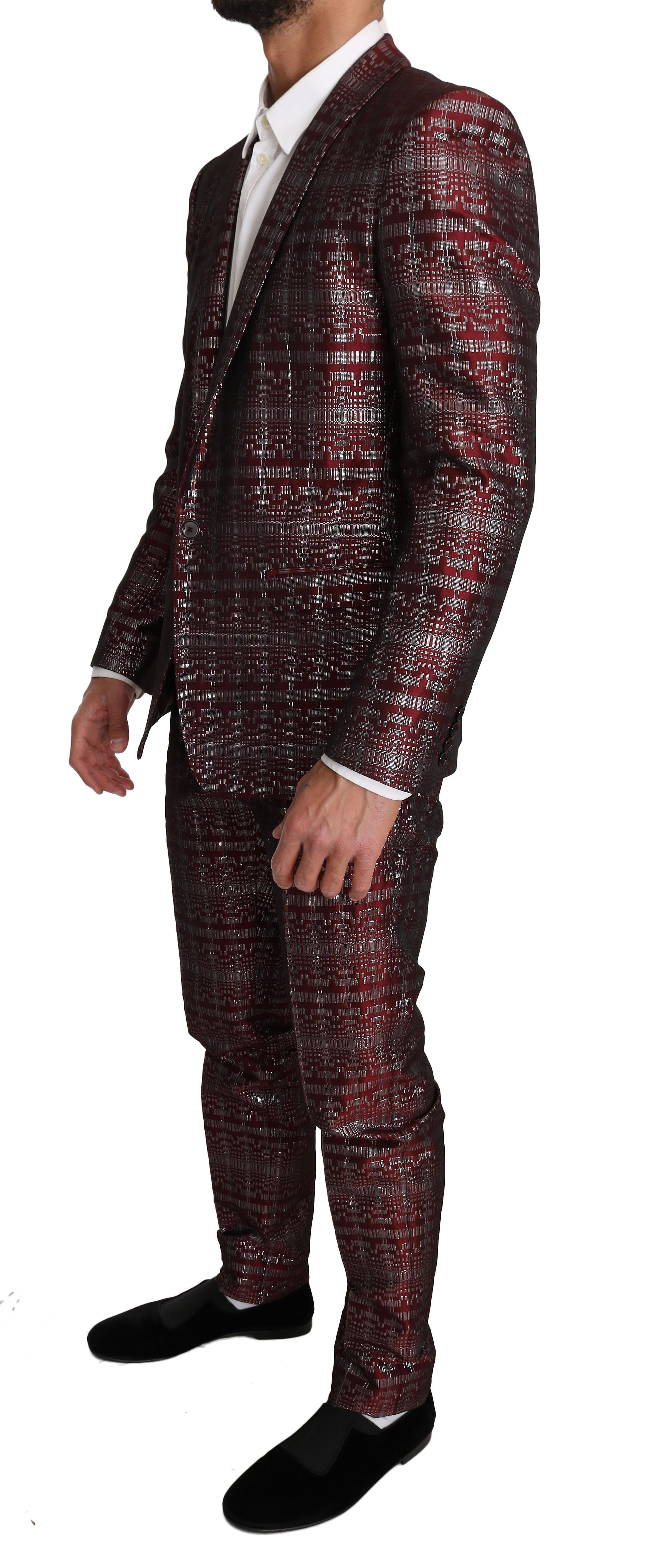 Bordeaux Gold Shiny 2 Piece Slim Suit