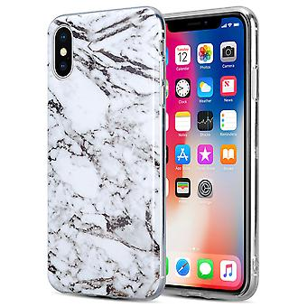 Kit Me Out TPU Gel Case Compatible with iPhone XS Marble Fibre Effect Shockproof Durable Protective Protection Cover