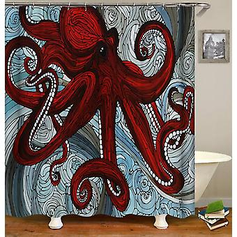 Stained Glass Octopus Shower Curtain
