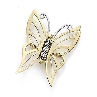 14k Two Tone Gold Butterfly Angel Wings Pin Jewelry Gifts for Women - 1.9 Grams
