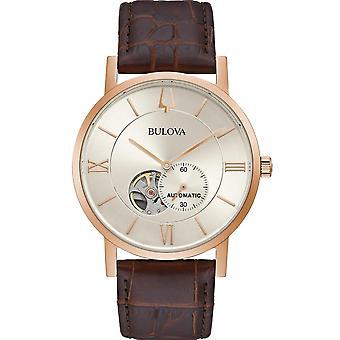 Bulova 97A150 ارتفع الذهب لهجة ساعة اليد التلقائي