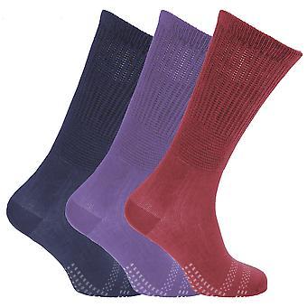 Womens/dames bambou non-Binding extra large diabétique chaussettes (3 paires)