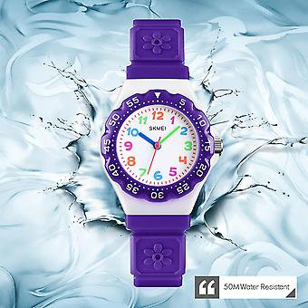 Skmei Kids Boys Girls Children First Watch Easy Tell Time Analogue Learning Purple