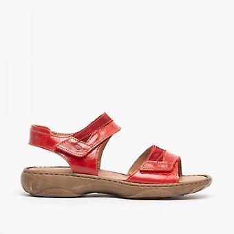 Josef Seibel Debra 19 Ladies Leather Touch Fasten Sandals Red