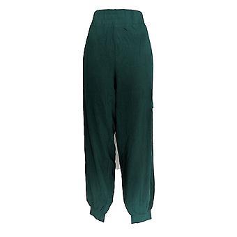 Anybody Women's Pants Tall Cozy Knit Cargo Jogger Pine Green A310169