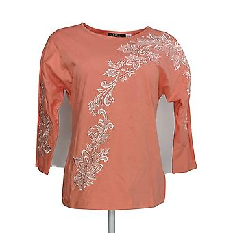Bob Mackie Women's Top (XXS) Floral Embroidered Dolman Slv Pink A290585