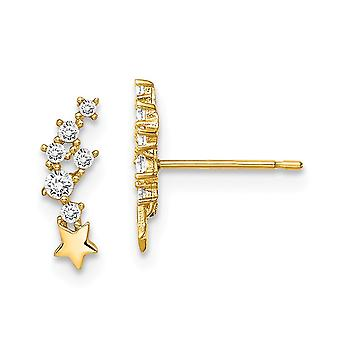14k Madi K Shooting Star CZ Cubic Zirconia Simulated Diamond Post Earrings Jewelry Gifts for Women