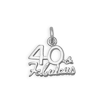Polished 925 Sterling Silver 40 and Amp; Fabulous Charm Pendant Necklace Measures 13.5mm X 15mm Jewelry Gifts for Women