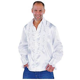 Homens fantasiam camisa disco com babados de luxo