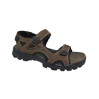 Roamers Brown Crazy Horse Leather 3 Touch Fastening Sandal