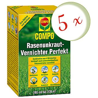 Sparset: 5 x COMPO Lawn Weed Killer Perfect, 200 ml