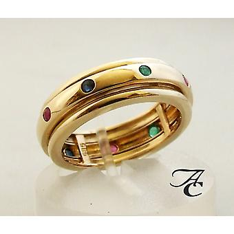 Gold ring with sapphire ruby and emerald