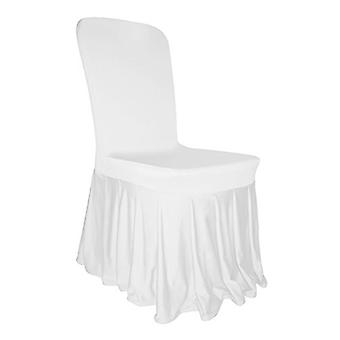 White Spandex Chair Pleated Cover with Ruffled Skirt
