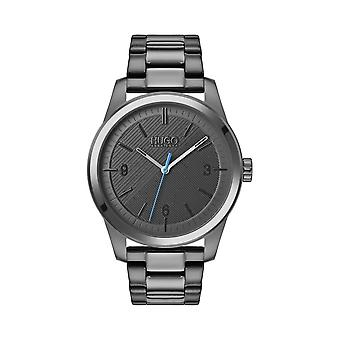 Hugo Mens 'Create' Round Grey Dial Grey IP Bracelet Watch 1530119