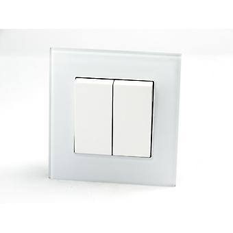I LumoS AS Luxury White Crystal Glass Single Frame 2 Gang 1 Way Rocker Light Switches
