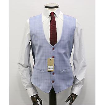 Antique Rogue Light Blue With Red Check Suit Waistcoat