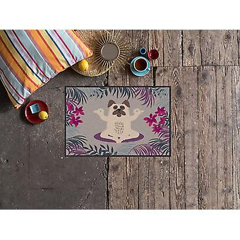 Salonloewe Doormat Yoga Pug 50 x 75 cm lavable Dirt Mat