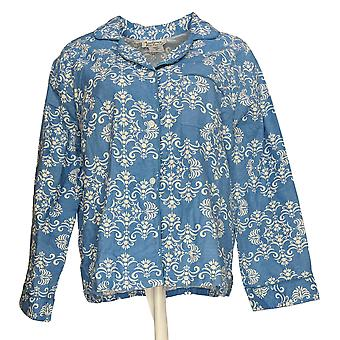 Anthony Richards Women's Top Printed Long Sleeve Button Down Shirt Blue