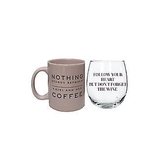 متعة النبيذ والقهوة صباح / ليلة هدية مجموعة