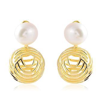 Isabella Liu Fresh Water White Pearl Sea Rhyme Drop Boucles d'oreilles Plaqué Or Plaqué Argent