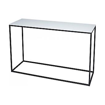 Gillmore White Glass And Black Metal Contemporary Console Table