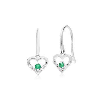 האזמרגד קלאסי עגול & טבעת אהבה הלב בצורת ירידה עגילים ב 9ct לבן זהב 162E0258039