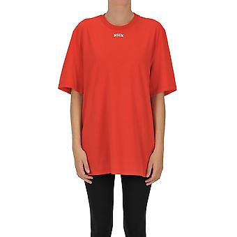 Msgm Ezgl020140 Women's Red Cotton T-shirt