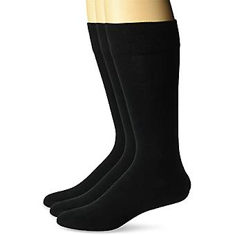 BOTONADO ABAJO Hombres's 3-Pack Pima Calcetines de Vestido de Algodón, Negro, Tamaño del Zapato: 8-12