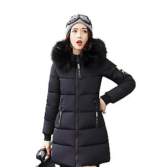 Womens Slim Midi Faux Fur Trim Hooded Puffer Parka Bubble Coat