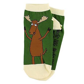 Lazy One Moose Hug SK320A Green Unisex Slipper Socks