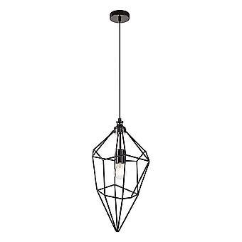 Éclairage Luminosa - Grand pendentif de plafond en cage, 1 x E27, Nickel noir