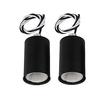 2 Pcs 5.95x3.05x3.05cm E14 Lamp Socket Holder Black