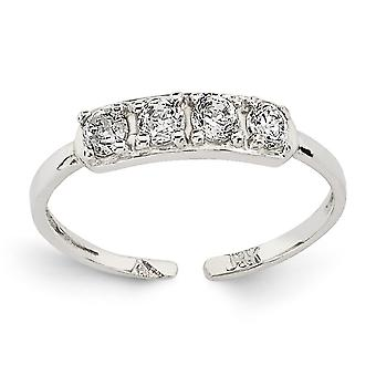 14k White Gold Polished CZ Cubic Zirconia Simulated Diamond Toe Ring Jewelry Gifts for Women