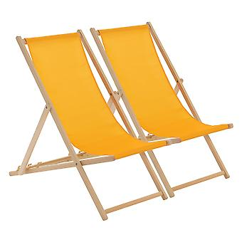 Wooden Deck Chair - Traditional Beach Style Adjustable Folding Chair - Mustard - Pack of 2