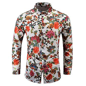 Allthemen Men's Casual Printed Shirt Large Size Long Sleeve Flower Lapel Top