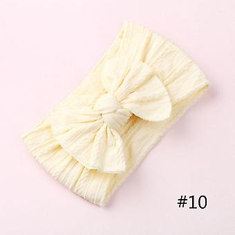 Nylon Bow Headbands Cable Knit Solid Wide Turban For Baby Girls
