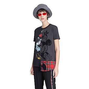 Desigual AW20 Minnie Mouse Tartan Mix Punk T-shirt 20WWTKBR Black