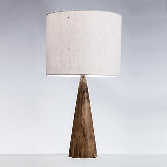 Modern Home Espresso Conical Wood Log Table Lamp w/Natural Jute Shade