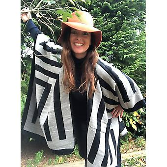 Belle Divino Quality Striped Stylish Poncho Warm Winter Black / Grey
