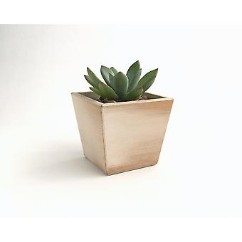 Wood Succulent Planter Hand Painted Rustic Finish