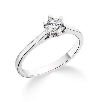 9K White Gold 6 Claw Cathedral Setting  0.20Ct Certified Solitaire Diamond Engagement Ring