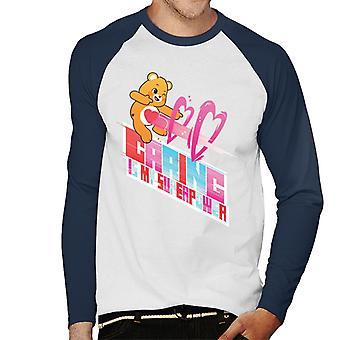 Care Bears Unlock The Magic Careing Is My Superpower White Border Men's Baseball Pitkähihainen T-paita