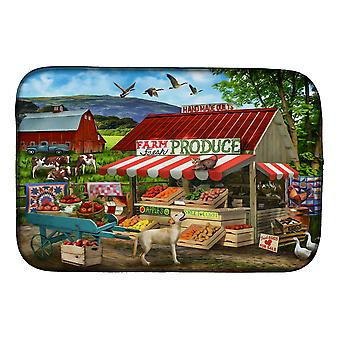 Produire stand yellow lab et cows dish drying mat