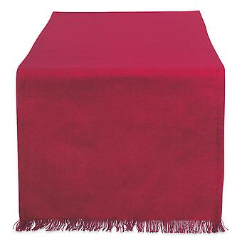 Dii Solid Wine Heavyweight Fringed Table Runner