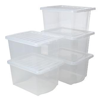 Paquete de almacenamiento Wham de cajas de almacenamiento de plástico de cristal de 5 - 28 litros con tapas
