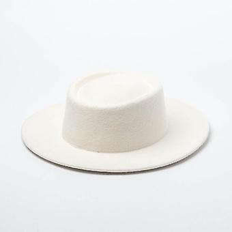 Women 100% Wool Felt Hats White Wide Brim Fedoras For Wedding Party
