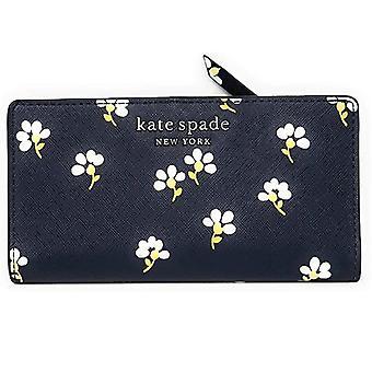 Kate spade cameron suuri ohut kaksitaihoinen nahkalompakko daisy toss nightcap sininen