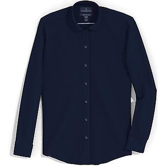 """BUTTONED DOWN Men's Slim Fit Spread Collar Solid Pocket Options, Navy 16.5"""" N..."""