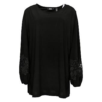 Dennis Basso Women's Plus Top Tunic Lace-Trimmed Sleeves Black A305105