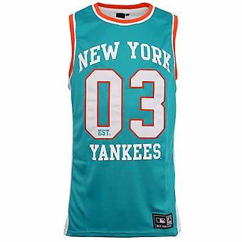 Majestic Athletic MLB New York Yankees Aqua Orange White Macro Tank Top R10J